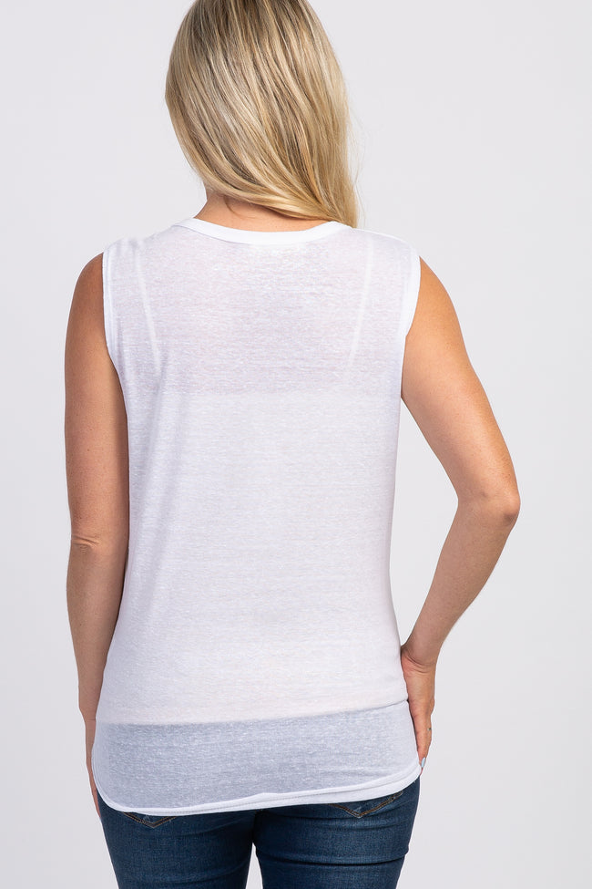 White Heathered Sleeveless Maternity Top