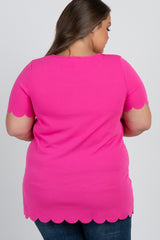 Fuchsia Solid Scalloped Trim Maternity Plus Top