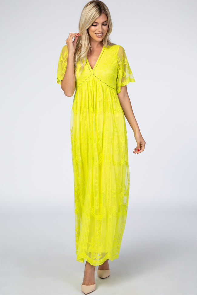 PinkBlush Neon Lime Lace Mesh Overlay Maternity Maxi Dress