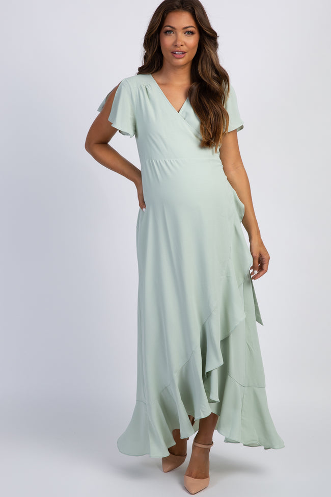 Mint Green Split Sleeve Wrap Tie Maternity Dress