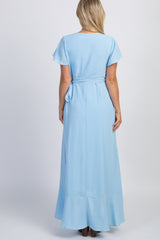 Light Blue Split Sleeve Wrap Tie Maternity Dress