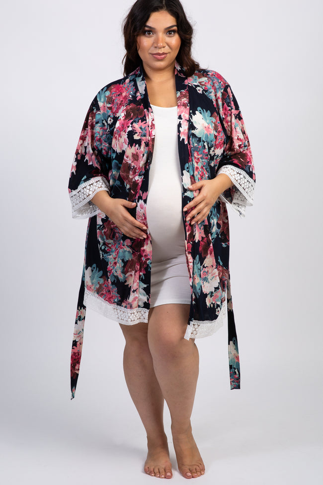 PinkBlush Navy Blue Floral Lace Trim Delivery/Nursing Maternity Plus Robe