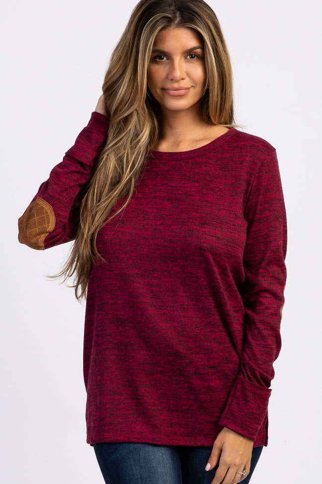 Burgundy Button Back Quilted Elbow Knit Maternity Top