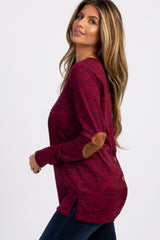 Burgundy Button Back Quilted Elbow Knit Top