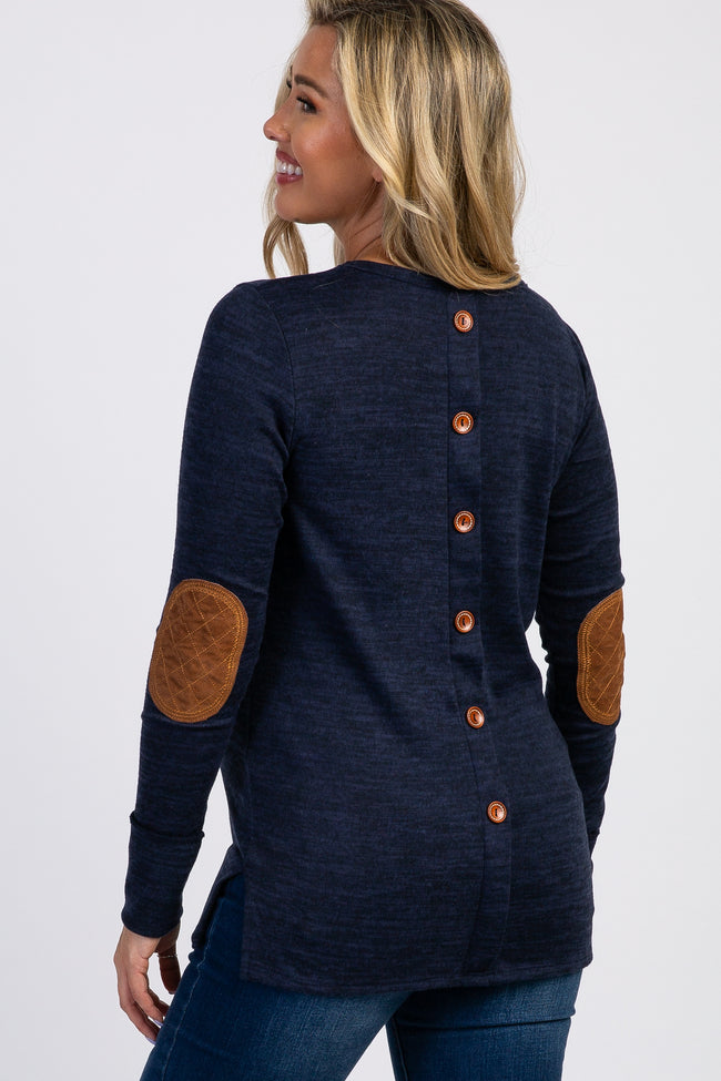 Navy Blue Button Back Quilted Elbow Knit Maternity Top