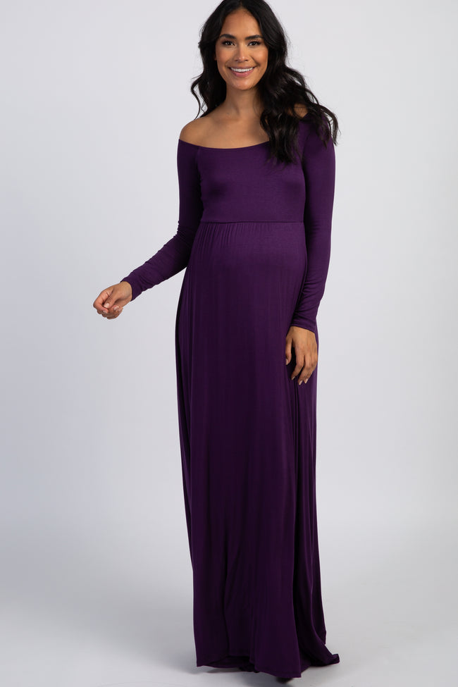 PinkBlush Purple Solid Off Shoulder Maternity Maxi Dress