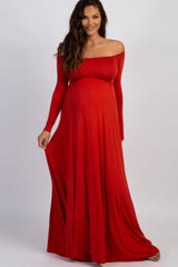 PinkBlush Rust Solid Off Shoulder Maternity Maxi Dress