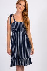 Navy Pinstriped Smocked Dress