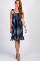 Navy Pinstriped Smocked Maternity Dress