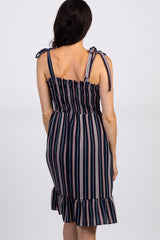 PinkBlush Navy Pinstriped Smocked Shoulder Tie Dress