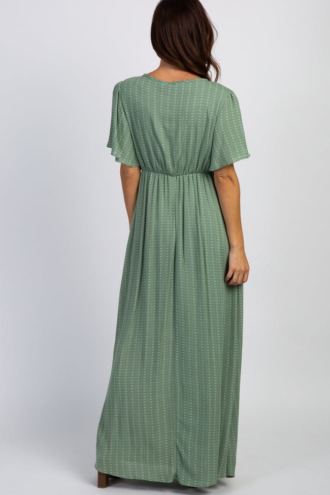 Sage Green Floral Bell Sleeves Maxi Dress