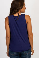 Navy Sleeveless Maternity/Nursing Top