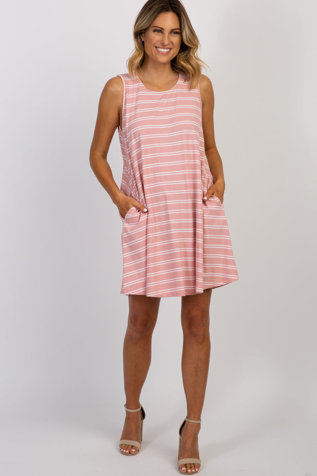 Pink Striped Ribbed Sleeveless Dress