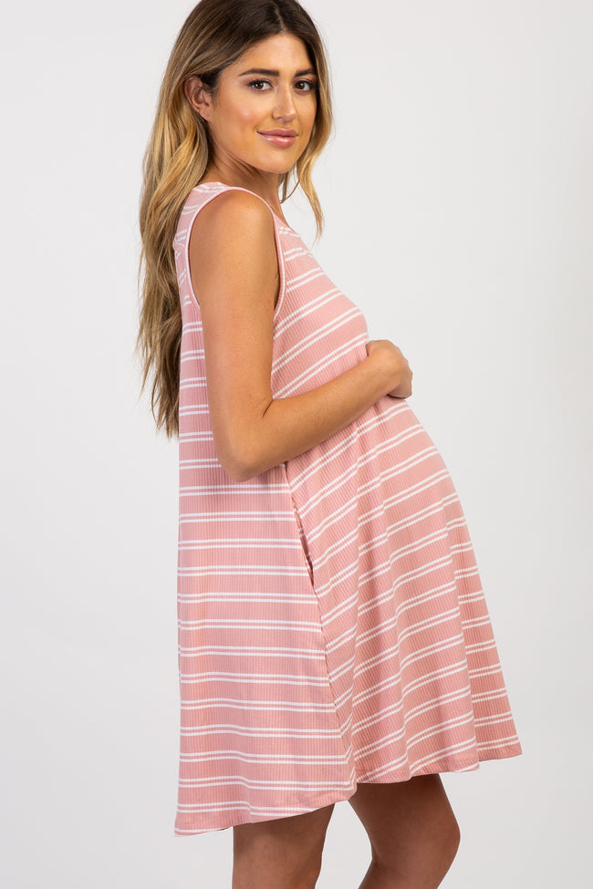 Pink Striped Ribbed Sleeveless Maternity Dress
