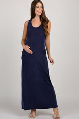 Navy Textured Racerback Maternity Maxi Dress