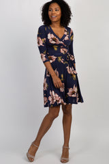 Navy Blue Floral Wrap Dress