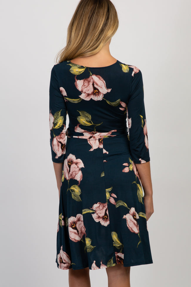 Forest Green Floral Maternity Wrap Dress