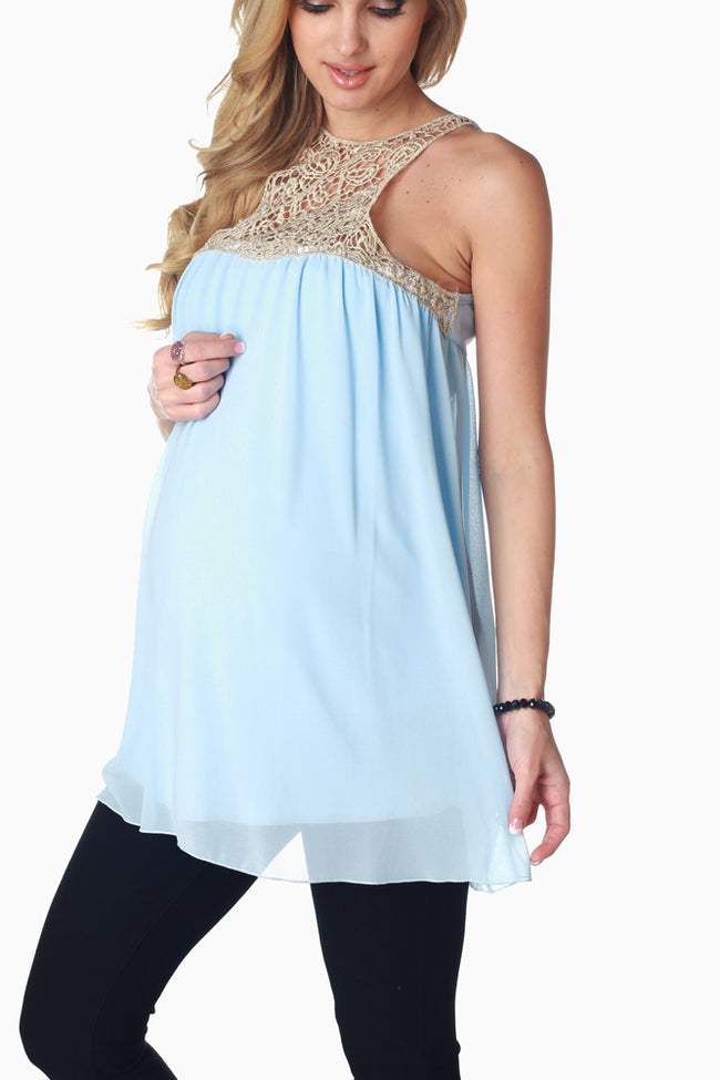 Baby Blue Gold Crochet Accent Maternity Tank Top