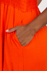 Orange Smocked Ruffle Maxi Dress