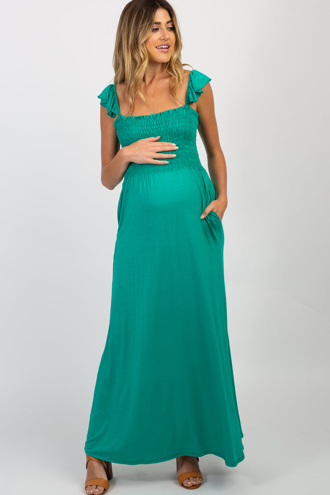 Green Smocked Ruffle Maternity Maxi Dress