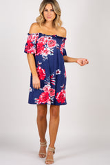 Navy Blue Off Shoulder Floral Dress