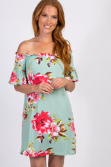 Mint Floral Off Shoulder Short Sleeve Dress
