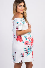 Ivory Floral Off Shoulder Short Sleeve Maternity Dress