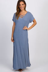 Blue Striped Maternity Maxi Dress