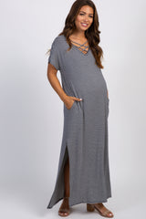Navy Striped Maternity Maxi Dress