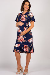 Navy Floral Ruffle Maternity Midi Dress