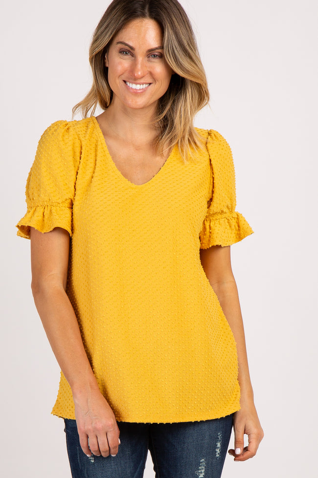 Yellow Swiss Dot Ruffle Puff Sleeve Top