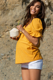 Yellow Swiss Dot Puff Ruffle Short Sleeve Maternity Top