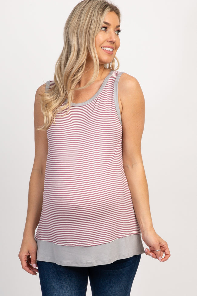 Mauve Striped Colorblock Maternity Tank Top