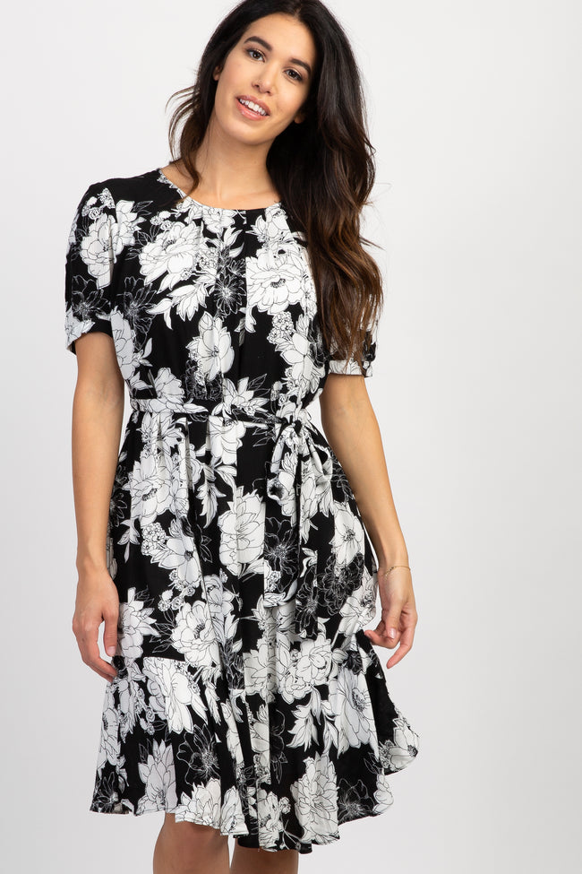 Black Floral Short Sleeve Tie Dress