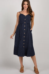 Navy Striped Sweetheart Button Front Maternity Dress