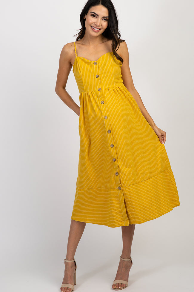 Yellow Striped Sweetheart Button Front Maternity Dress