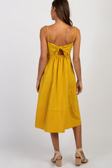 Yellow Striped Sweetheart Button Front Dress