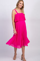 Fuchsia Pleated Layered Maternity Midi Dress