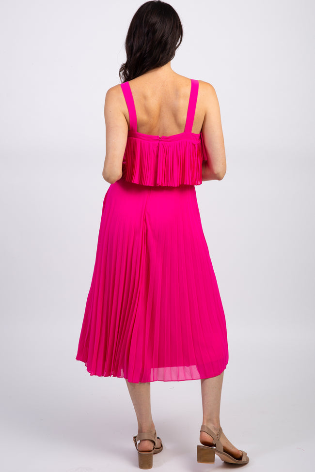 Fuchsia Pleated Layered Midi Dress