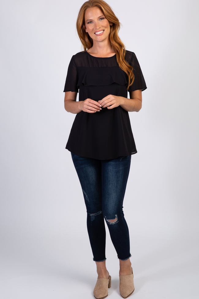 Black Ruffle Maternity Short Sleeve Top