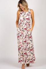 PinkBlush Ivory Flower Leaf Print Maternity Maxi Dress