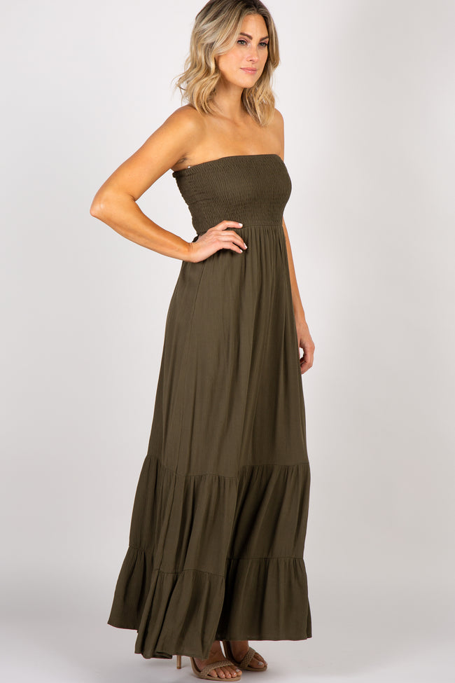 Olive Green Smocked Strapless Maxi Dress