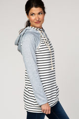 Ivory Striped Layered Asymmetrical Hoodie