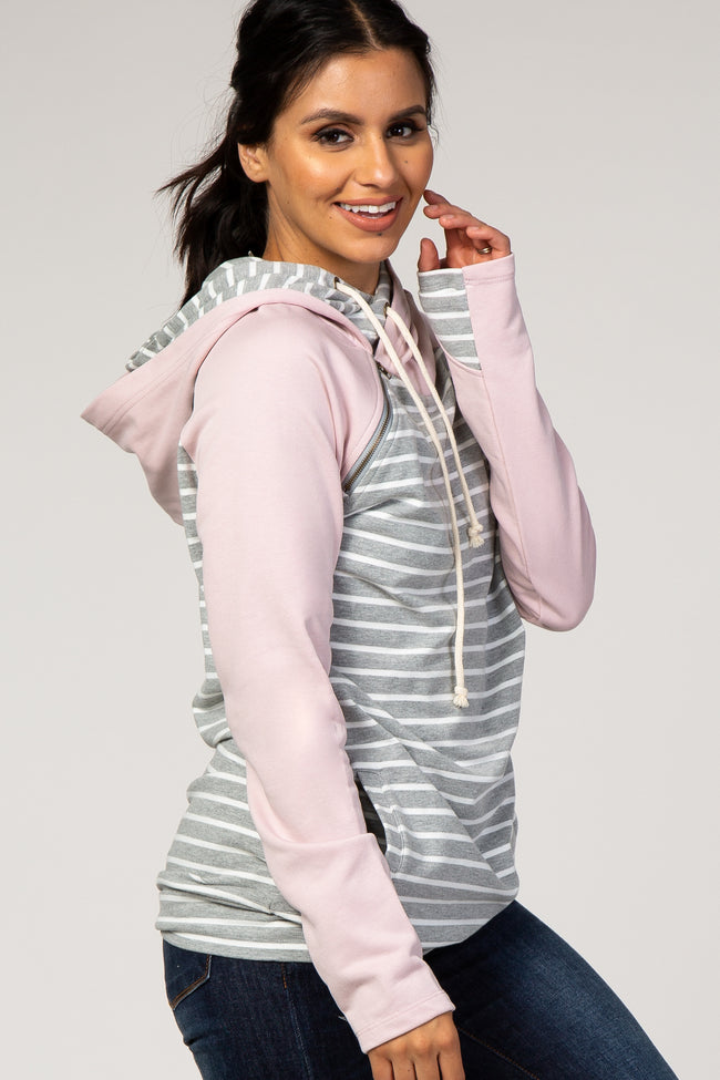 Pink Grey Striped Layered Asymmetrical Hoodie