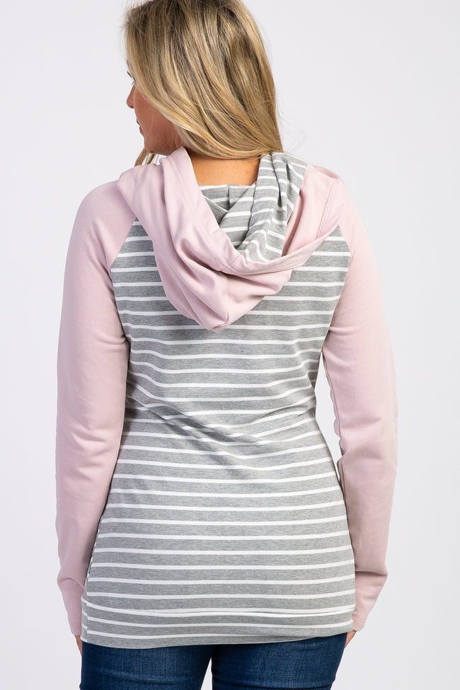Pink Grey Striped Layered Asymmetrical Maternity Hoodie