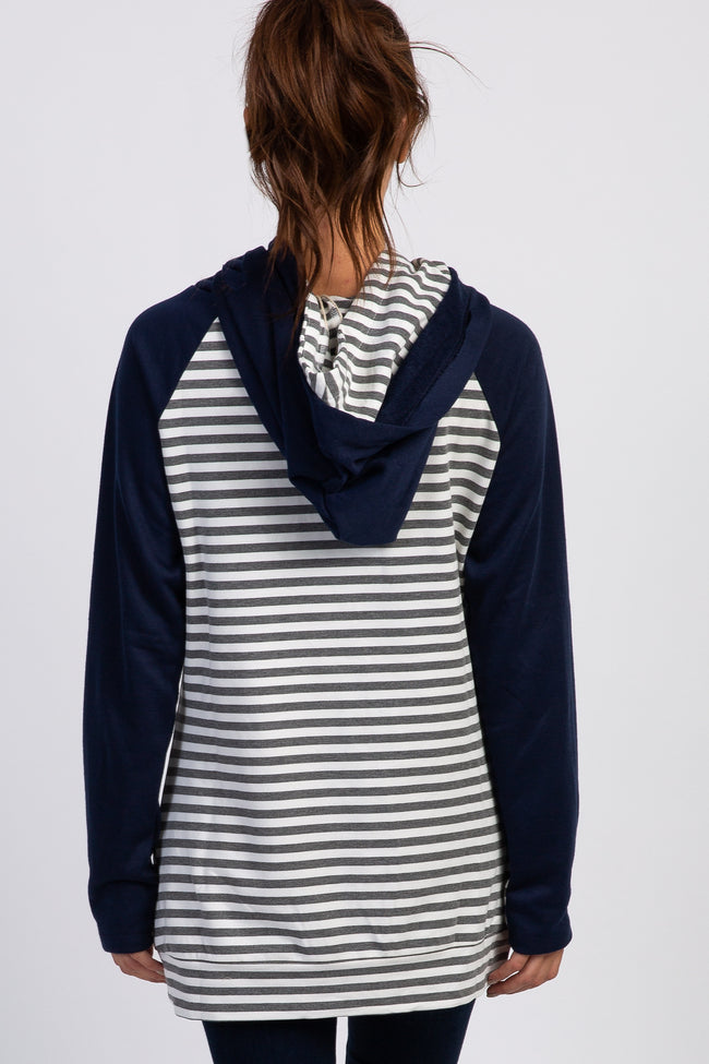 Navy Striped Layered Asymmetrical Hoodie