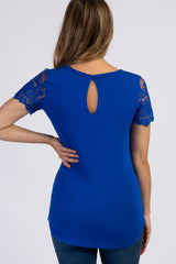 Royal Blue Lace Sleeve Top