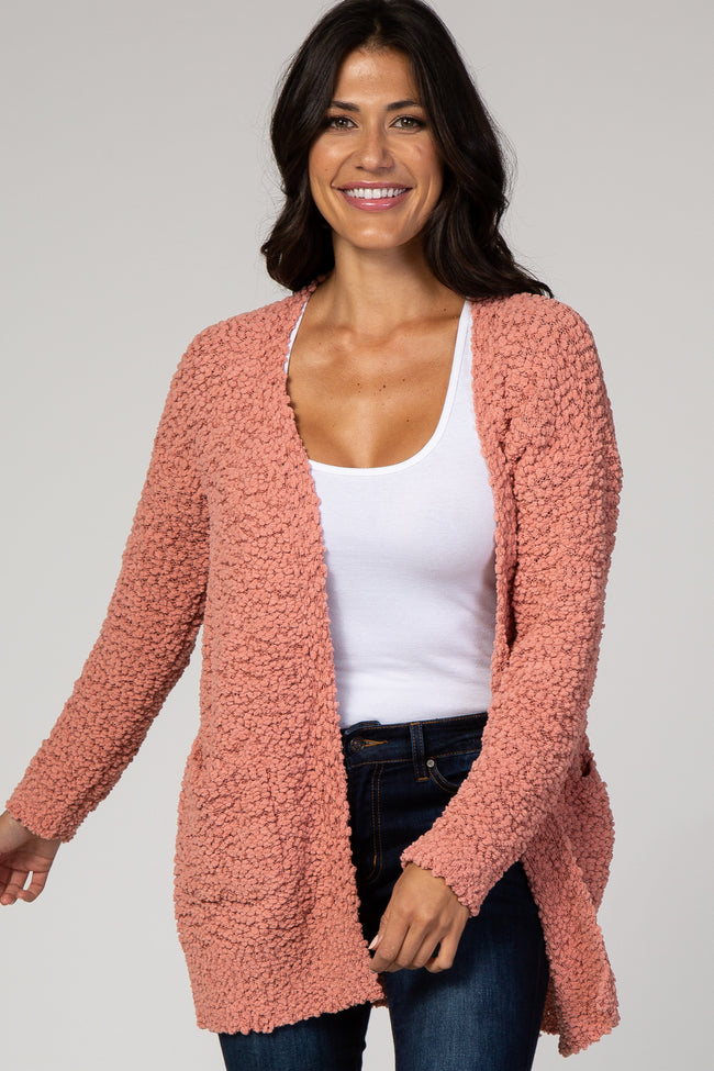 Coral Popcorn Knit Maternity Cardigan