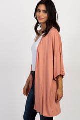 Salmon Solid Short Sleeve Cover Up