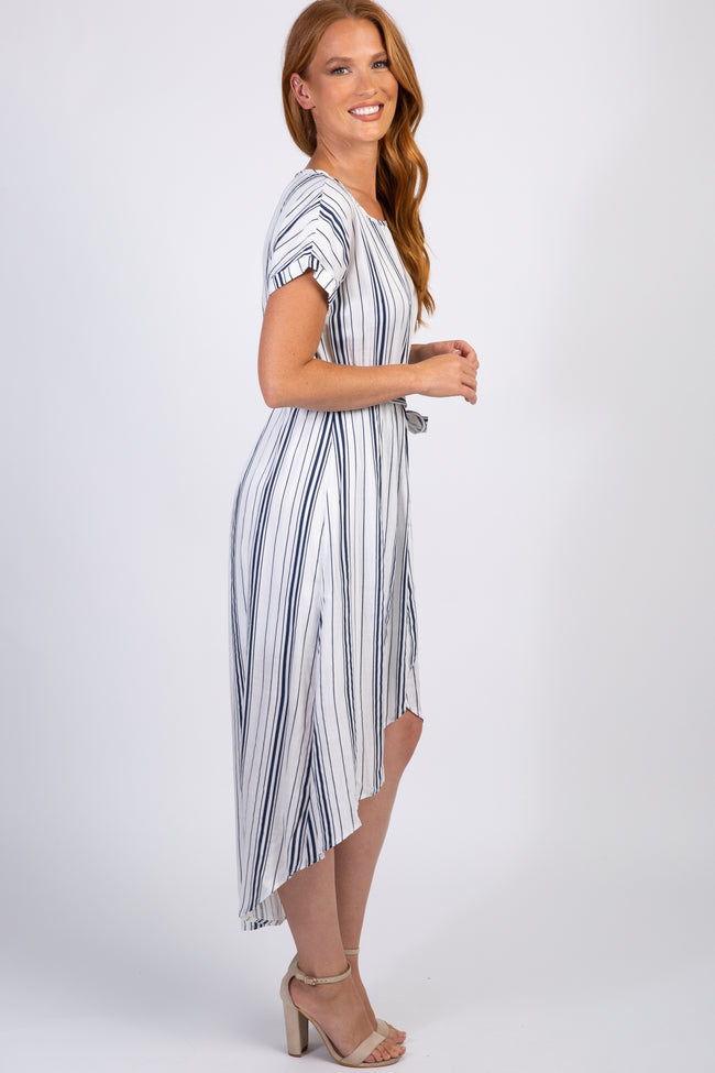 Striped Short Sleeve Hi-Low Dress